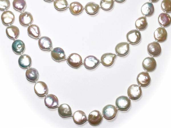 Elisa - Iridescent White Coin Pearl Rope-984