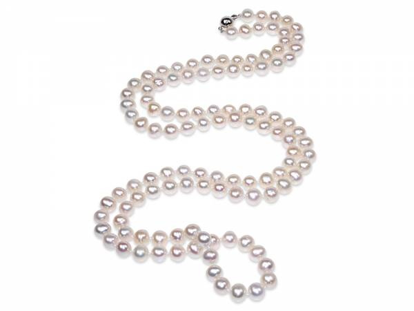 Stephanie - Long White Pearl Necklace-0