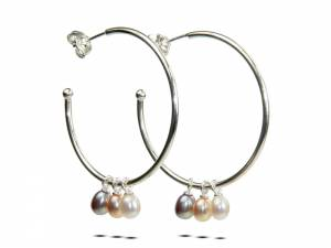 Betty Hoops Picks Pears - Pearl Hoop Earrings
