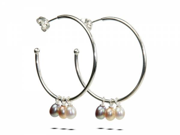 Betty Hoops Picks Pears - Pearl Hoop Earrings