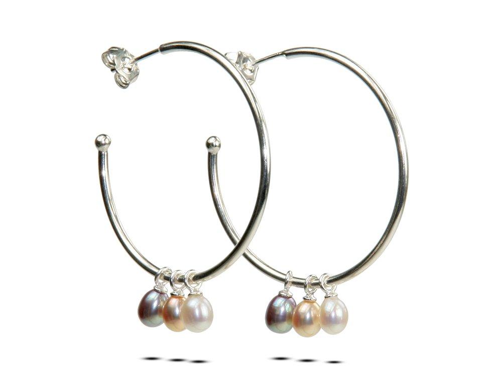 Betty Hoops Picks Pears Pearl Hoop Earrings Customizable