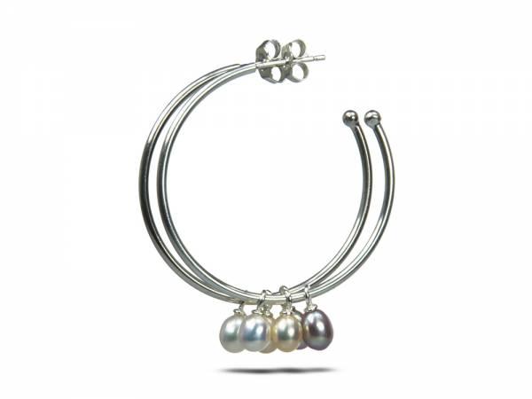 Betty Hoops Picks Pears - Pearl Hoop Earrings-313