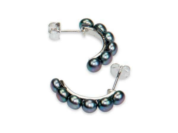 Catalina - Black Button Pearl Earrings