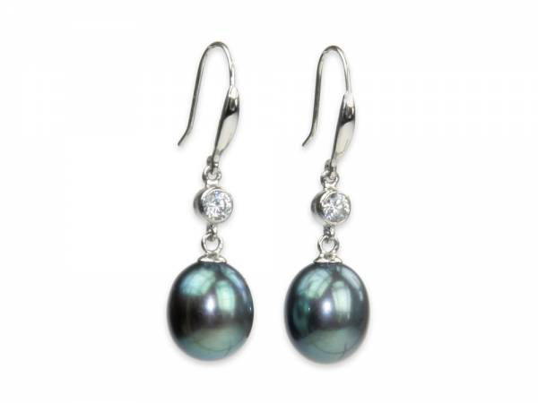 Vera - Peacock Black Drop Pearl Earrings