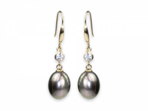 Hera - Aubergine Black Drop Pearl Earrings