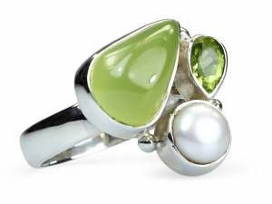 Diane - Chalcedony, Peridot & Pearl Ring-0
