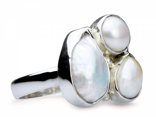 Jean - Three White Baroque Pearl Ring-0