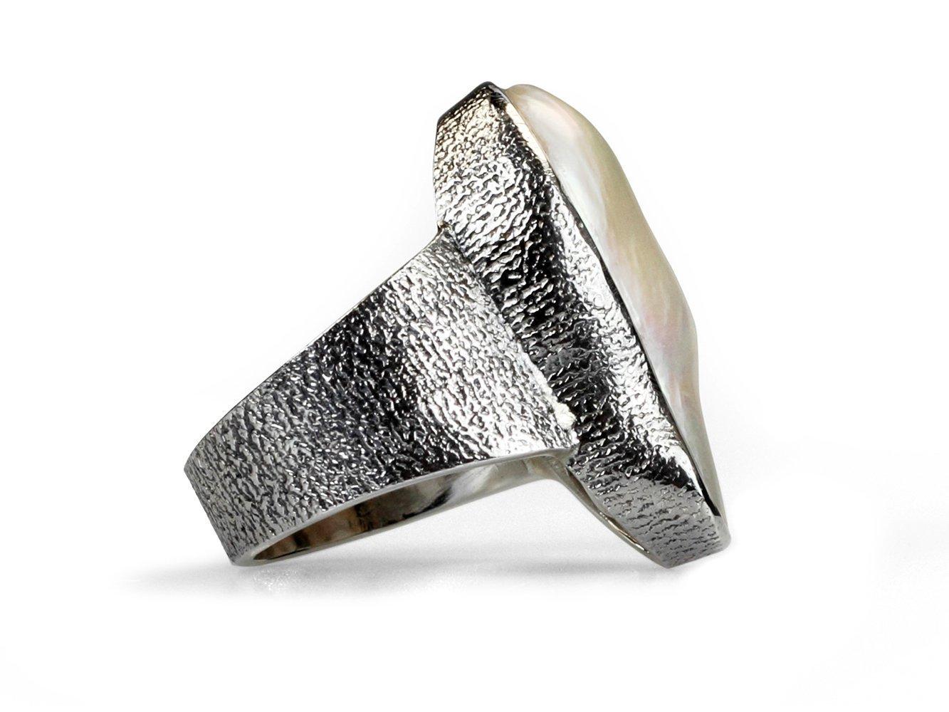 Elektra - Large White Baroque Pearl Ring-466
