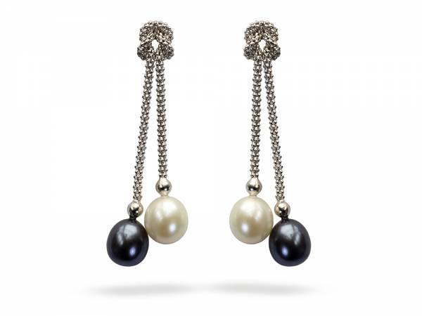 Yin & Yang - Black & White Pearl Earrings