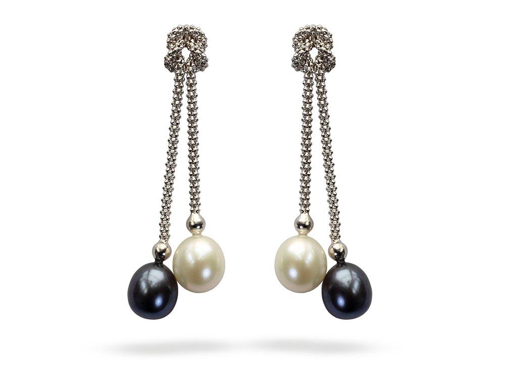 Yin Yang Black White Pearl Earrings