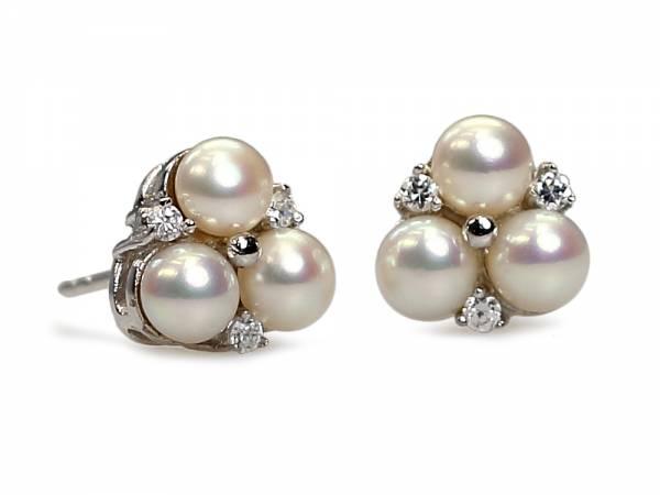 Hanako - Pearl Earrings with Three Pearls