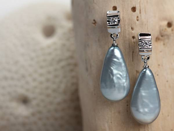Keira - Silver Baroque Drop Pearl Earrings-431