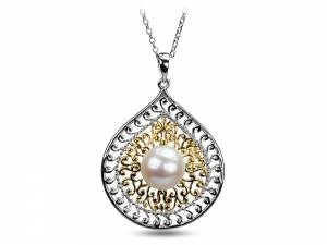 Ishara - Indian Style White Pearl & Silver Pendant-0