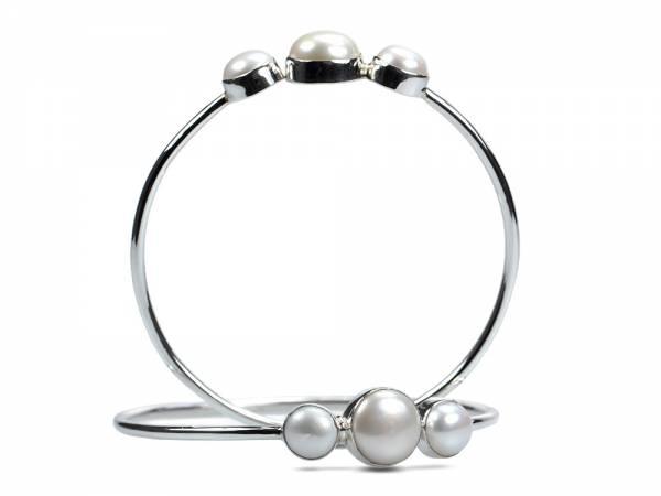 Chica - Silver & Pearl Bangle-0