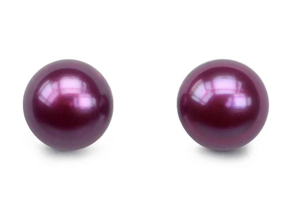 Mulberry Candy Purple Pearl Stud Earrings