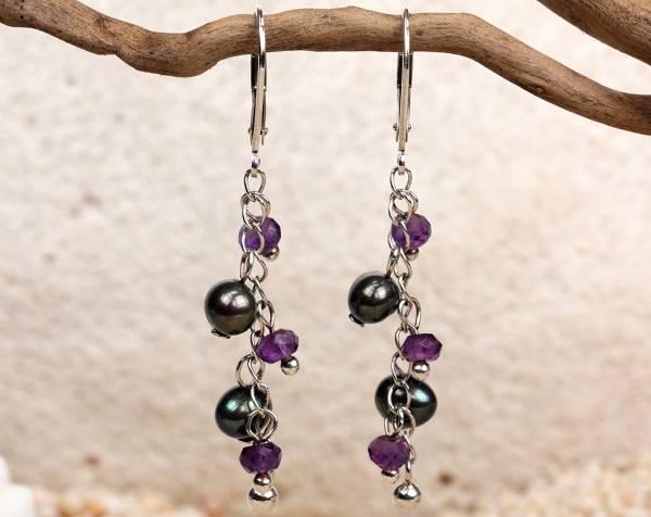 Fauna - Black Pearls & Amethyst Beads-440
