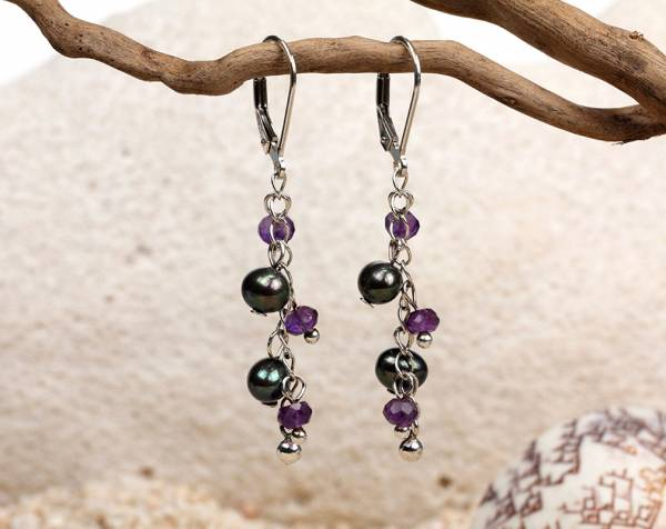 Fauna - Black Pearls & Amethyst Beads-670