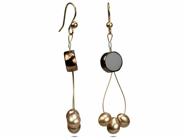 Tamara - Black & Gold Pearl Earrings