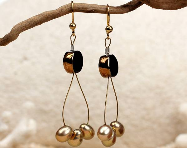 Tamara - Black & Gold Pearl Earrings-454