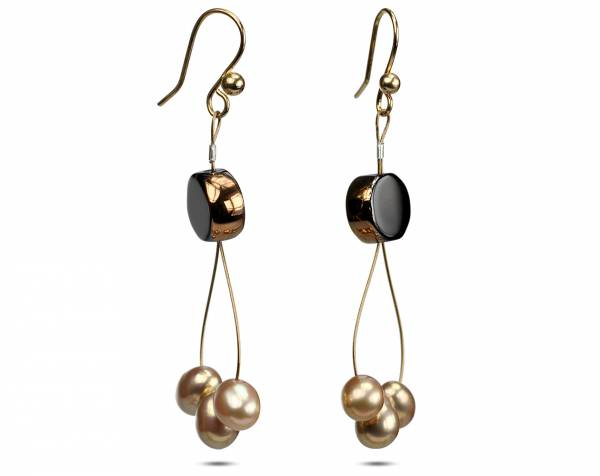 Tamara - Black & Gold Pearl Earrings-684