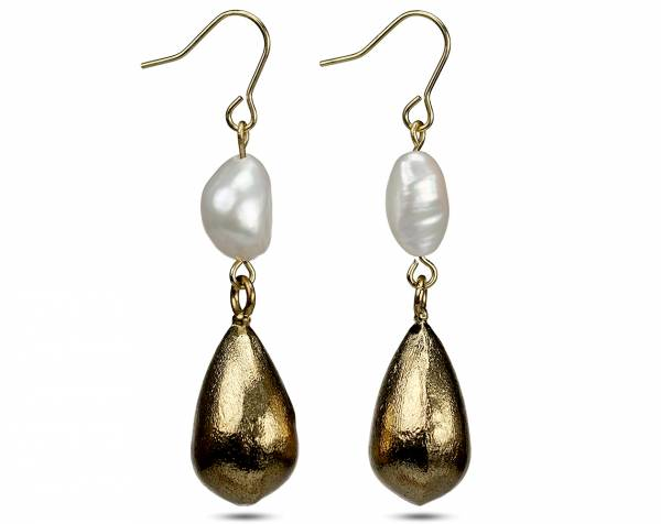 Keeley - White Baroque Pearl Earrings-456