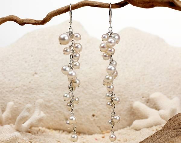 Lise - Fine White Pearl Cascade Earrings-435