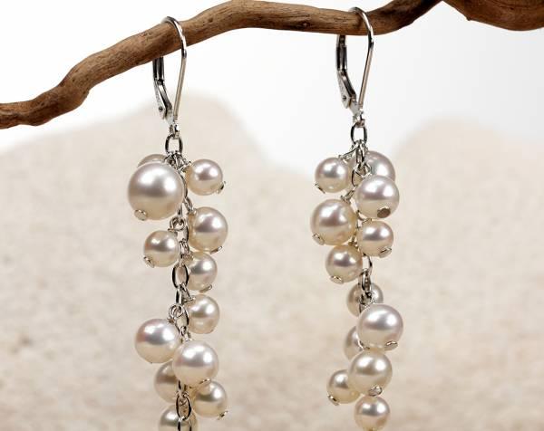 Lise - Fine White Pearl Cascade Earrings-665