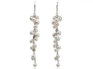 Lise - Fine White Pearl Cascade Earrings-0