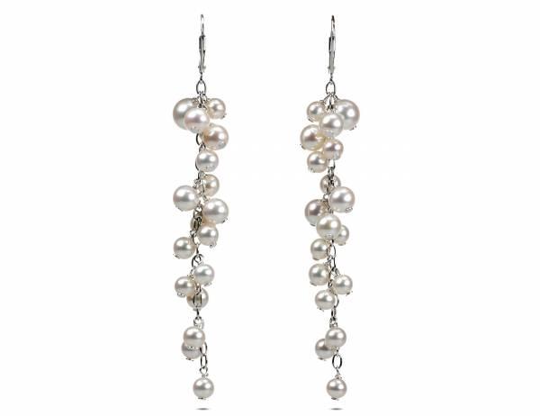 Lise - Fine White Pearl Cascade Earrings-0