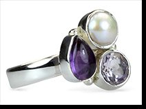 Amy - amethyst, rose quartz and pearl ring