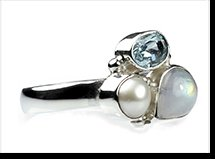 Drew - moonstone, blue topaz and pearl ring