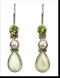 Esther - chalcedony and peridot pearl earrings