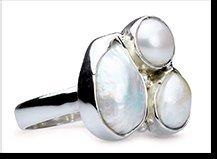 Jean - three white baroque pearl ring