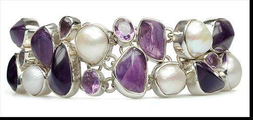 Kim - amethyst and pearl bracelet