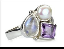 Lune - amethyst, moonstone and pearl ring