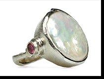 Moneta - big coin pearl ring